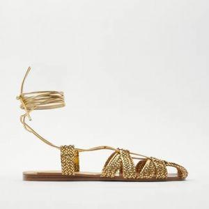 Zara Gold flat woven sandals